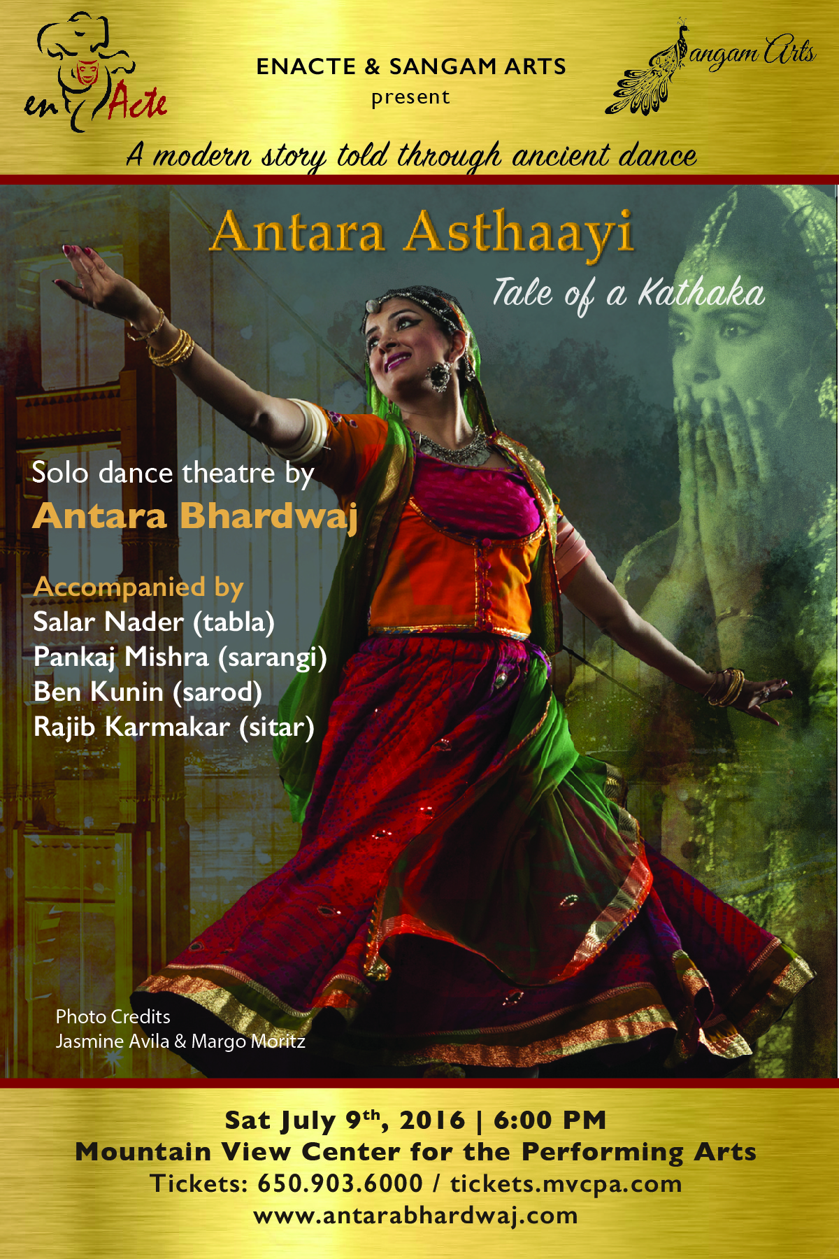 Official flyer for the performance Antara Asthaayi. July 9, 2016.